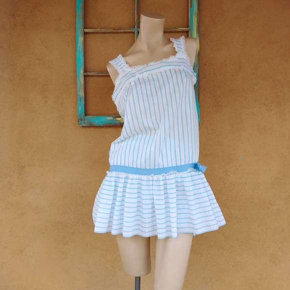 6e857768188 1960s Cotton Striped Babydoll Nightie Sz M